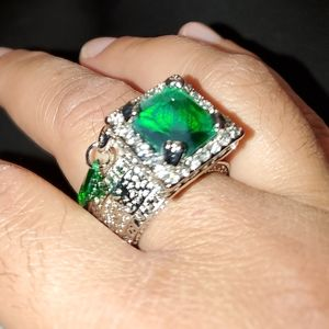 Large Dark Green Stone Ring For Women size 10
